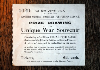 A ticket from the fund-raising raffle